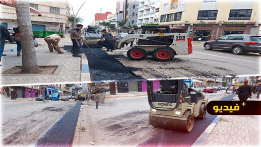 """شاهدوا.. عملية """"ترقيع"""" حفر الجيش الملكي وسط مطالب بإصلاح شامل للشارع"""