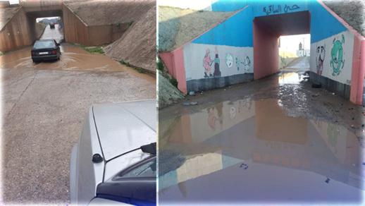 التساقطات المطرية بالناظور وأزغنغان تغلق الممر الوحيد وتعزل حي الساقية وعاريض