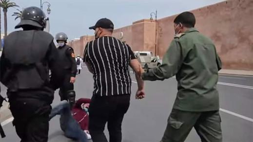 الشرطة تعتقل الشخص الذي ظهر وهو يعنف الأساتذة المحتجين بالرباط