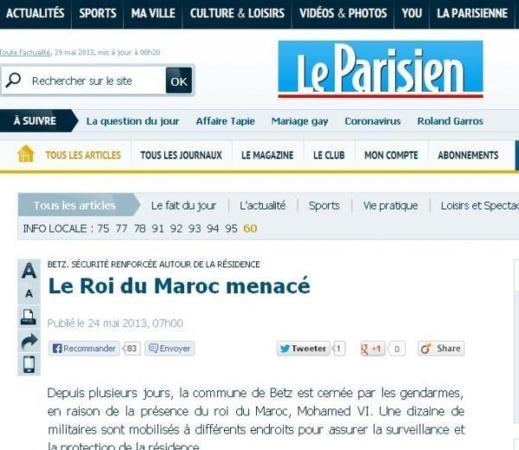 لوباريزيان: تهديدات للملك بفرنسا وتكثيف المراقبة على الاقامة الملكية بالضاحية الباريسية