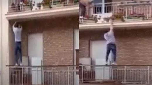 شاب ينقذ عجوزا قبل سقوطها من شرفة منزلها