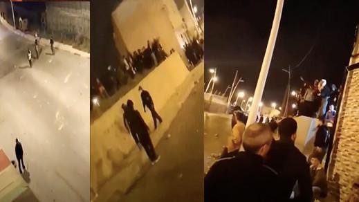 شاهدوا.. مواجهات بالحجارة بين القوة العمومية ومواطنين يرغبون في دخول مليلية