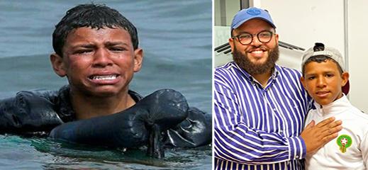 تضامن واسع مع أشهر طفل يتيم هاجر إلى سبتة سباحة