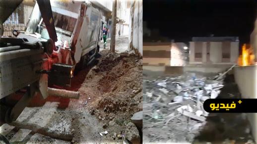 شاهدوا.. غرق شاحنة وسط حي لعراصي بالناظور والساكنة غاضبة من الشركة المكلفة بالأشغال