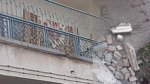 سقوط أجزاء من عمارة سكنية وسط الناظور يهدد بكارثة ومطالب للسلطات بالتدخل