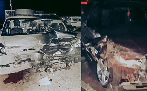حادثة سير بين ثلاث سيارة تقود عناصر الدرك الملكي بالناظور لحجز كمية من الخمور