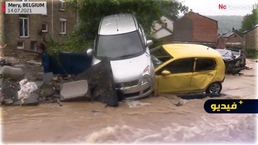 مصرع شخصين وفقدان آخرين جراء فيضانات بلجيكا