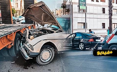 مسن يتسبب في حادثة سير مروعة وسط الناظور بعد فقدانه التحكم بمقود السيارة