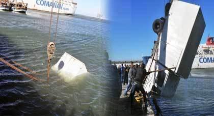 الرياح تتسبب في سقوط شاحنة بميناء بني أنصار