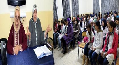 الاستاذتين نزهة صحصاح ولبرش فتيحة يؤطران لقاءا تواصليا لفائدة مستفيدات دار البر بزايو