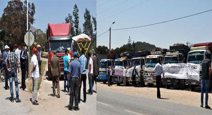 اعتصام مفتوح لأرباب الشاحنات قرب شركة السكر سكرافور حتى تحقيق مطالبهم