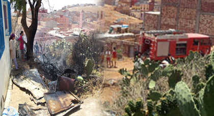 """عائلة تتهم """"جهات"""" بالوقوف وراء حريق شب بمحيط منزلها بحي إكوناف بالناظور"""