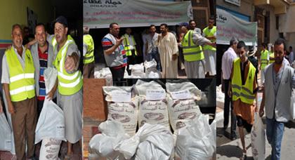 حملة إحسان لتوزيع قفة رمضان من جمعية الرحمة بالناظور على الأسر المعوزة بزايو