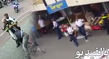 الجزء الثاني من حادثة دنهاخ بهولندا: الشرطة تجر المعتقل بعنف وتضرب والده ومواطنين أخرين