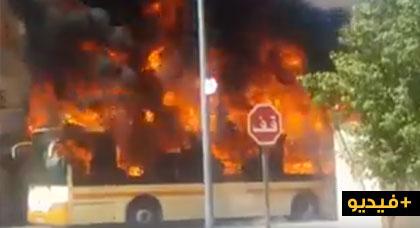 حريق مهول يأتي على حافلة كاملة للنقل الحضري بوجدة