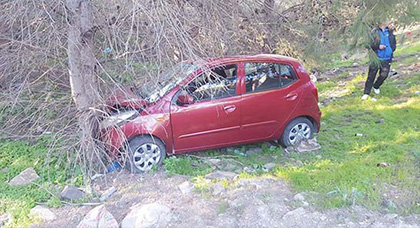 إصابة شخص بجروح وخسائر مادية جسيمة في حادث سير خطير بطريق بني أنصار
