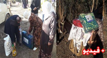 """توزيع كمية مهمة من """"المؤونة"""" ب""""تمسمان"""" ضمن حملة ضخمة أطلقتها جمعية الرحمة لمساعدة المتضررين من البرد"""