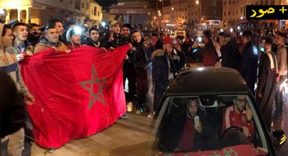 """الدريوش.. الفرحة بتأهل المنتخب الوطني في """"الكان"""" تُخرج الجماهير إلى الشوارع"""