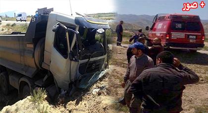الدريوش.. سقوط شاحنة في منحدر على الطريق الرابطة بين تفرسيت وميضار وإصابة سائقها بجروح وكسور
