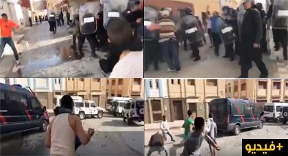 مشاهد جديدة لمواجهات المحتجين والقوى الأمنية يوم أمس بالحسيمة