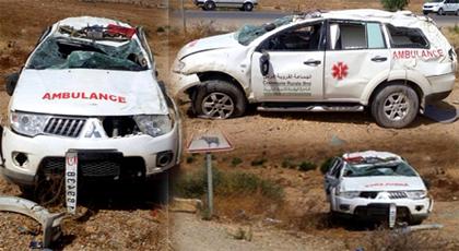 """الدريوش.. إنقلاب سيارة إسعاف """"بمنعرجات الموت"""" وإصابة سائقها بجروح خطيرة"""