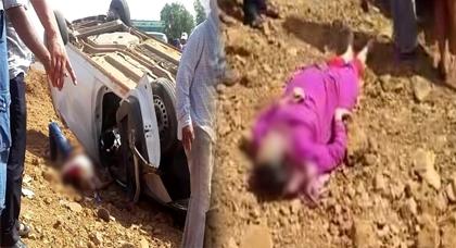 قتيلين و 6 جرحى من عمال شركة للنظافة بينهم امرأة في حادث انقلاب سيارة تابعة للشركة
