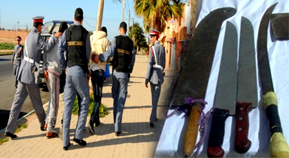 درك الدريوش يعتقل عنصرين من ذوي السوابق مدججين بأسلحة بيضاء بمنطقة بوفرقوش لهذا السبب
