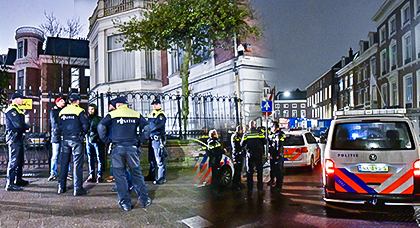 """حراكيون مغاربة يعتصمون في سفارة المغرب بلاهاي تضامنا مع """"الحسيمة"""" والشرطة الهولندية تتدخل لإبعادهم"""