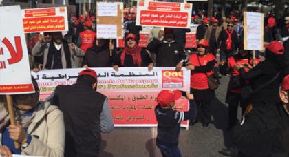 من الرباط.. نقابييون يدعون الحكومة الى الاستجابة لمطالب الريف