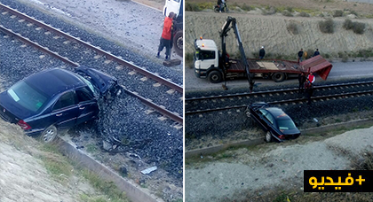 مروع بالناظور.. قطار يصدم سيارة ويقسمها إلى شطرين وركابها ينجون بأعجوبة من موت محقق