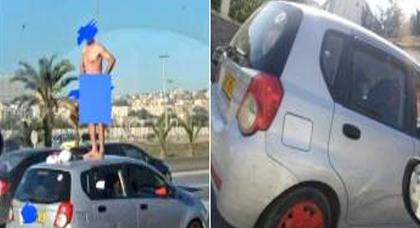 مضحك.. بسبب مخالفة وسحب رخصة السياقة  جزائري يتعرى كاملا ويصعد فوق سيارته