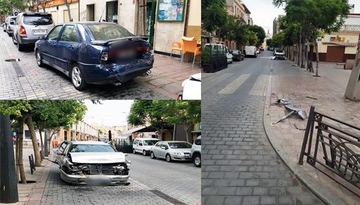 بالصور.. سيارة مجنونة تثير الرعب بمليلية بعد إصطدامها بعدد من العربات المركونة