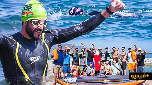 """السباح الناظوري مراد العبوسي ينجح في قطع 6 كلم سباحةً من بوقانا إلى بحيرة """"مارتشيكا"""" في وقت قياسي"""