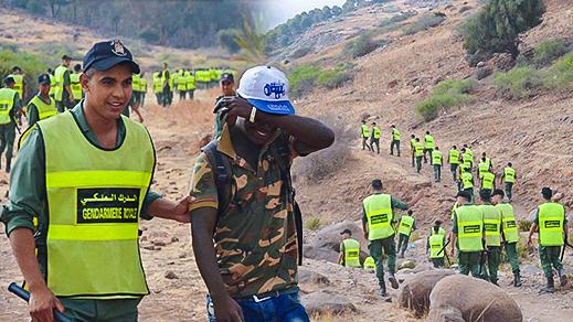 """بالصور.. سلطات الناظور تشن حملة على مخيم المهاجرين الأفارقة بدوار """"إيمسعودن"""" بالناظور"""