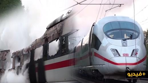 بالفيديو.. حريق يلتهم قطارا سريعا بين كولونيا وميونيخ وإجلاء المئات من الركاب
