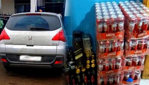 جمارك معبر بني انصار تحجز كمية مهمة من الخمور المهربة بحوزة مواطن تركي