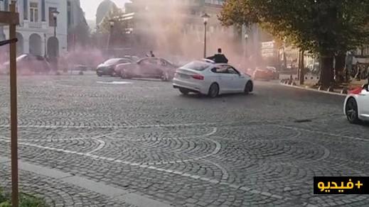 بالفيديو.. موكب زفاف مغربي في لييج يثير فوضى مرورية بلييج والشرطة البلجيكية تتدخل