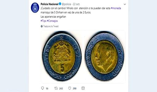 """الشرطة الإسبانية تحذر مواطنيها من """"5 دراهم"""" مغربية لهذا السبب"""