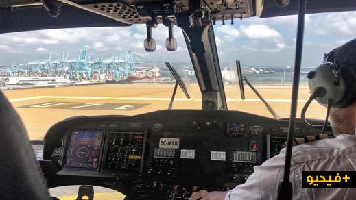 شاهدوا وصول أول رحلة جوية عبر طائرة مروحية الى مدينة مليلية قادمة من سبتة على متنها 12 مسافرا