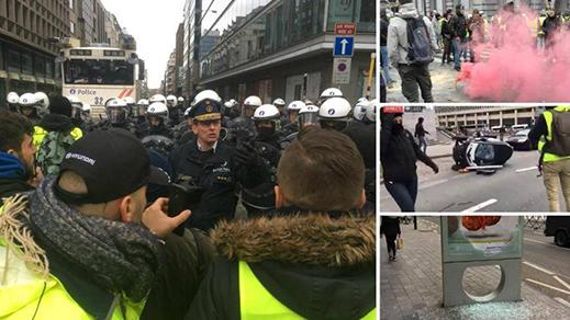 بالصور..شرطة بروكسل تدخل في مواجهة مع أفراد من السترات الصفراء