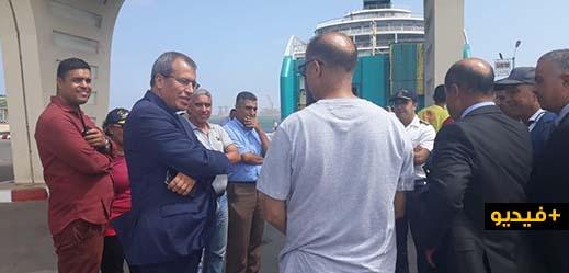 عامل اقليم الناظور يقوم بزيارة لمناء بني انصار ويشرف على عملية عودة مغاربة العالم