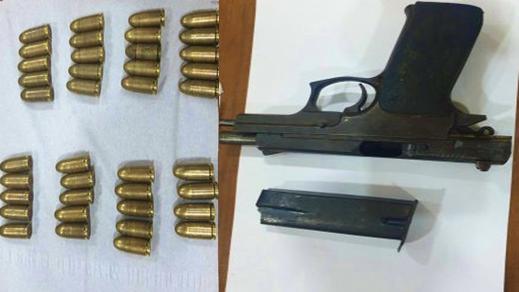 بالصور محجوزات اخطر زعيم عصابة بالناظور.. مسدس و 39 رصاصة