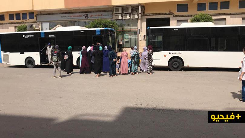 """في وقفة احتجاجية.. سكان حي الشعبي بالمطار يطالبون حافلات """"فيكتاليا"""" باسترجاع محطة خط الإنطلاق"""
