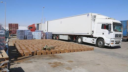 بالصور.. توقيف  شاحنة للنقل الدولي  على متنها 7 أطنان من الحشيش
