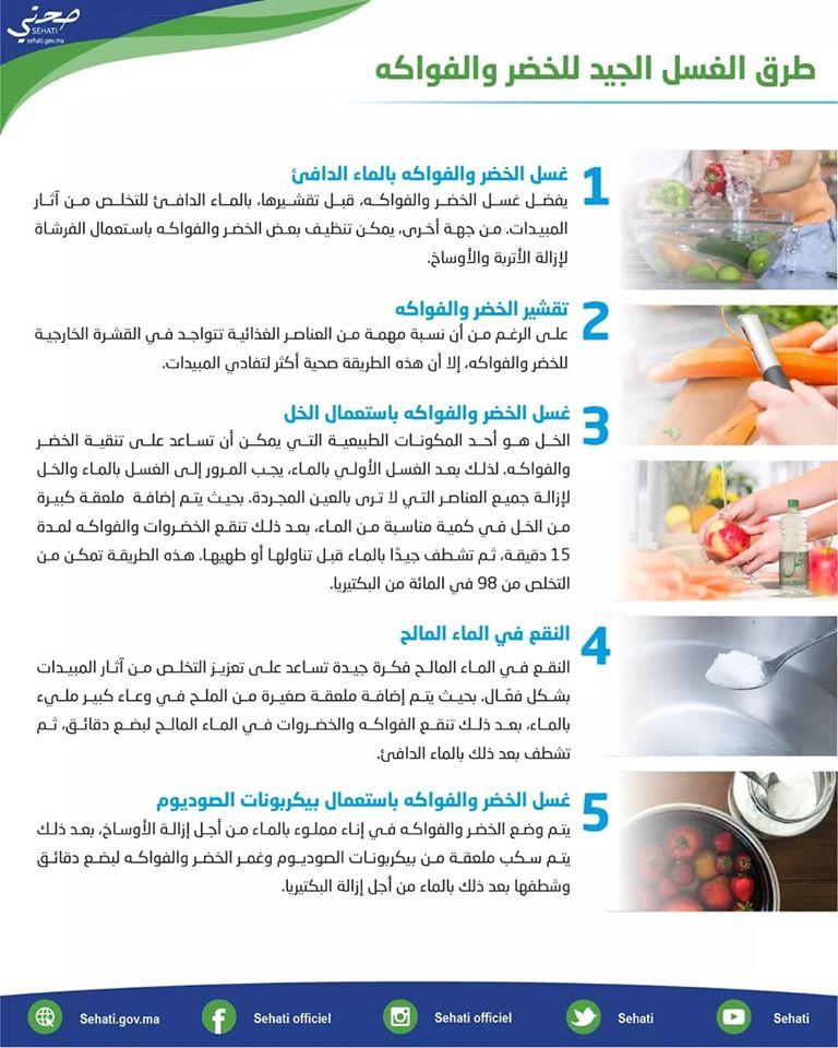 نصائح وزارة الصحة حول طرق الغسل الجيد للخضر والفواكه