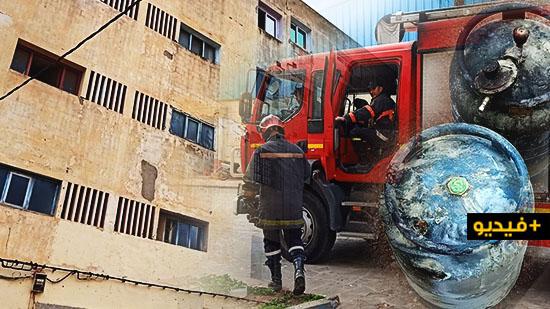 """شاهدوا.. إنفجار قنينتين من غاز """"البوطان"""" يتسبب في نشوب حريق داخل شقة بعمارة سكنية وسط الناظور"""