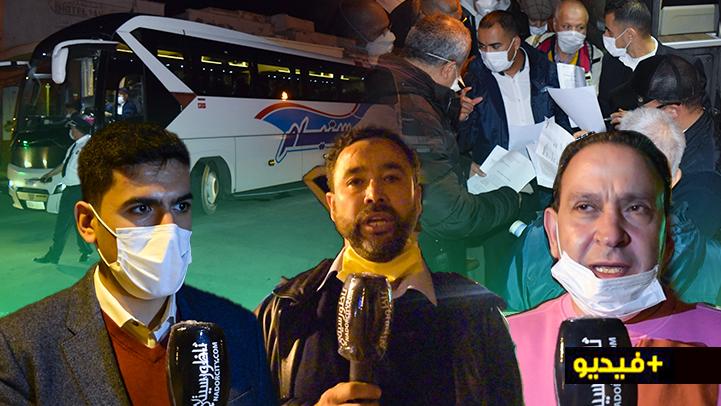 شاهدوا.. خمس حافلات تقل العالقين بالناظور الى مطار محمد الخامس لإعادتهم الى ألمانيا