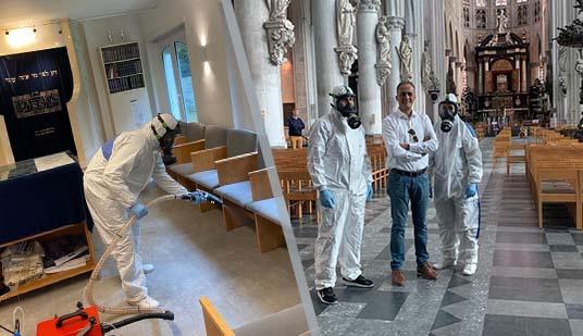 في مبادرة قيمة.. شركة مواطن مغربي ببلجيكا تقوم بتعقيم دور العبادة الخاصة بالديانات السماوية الثلاثة