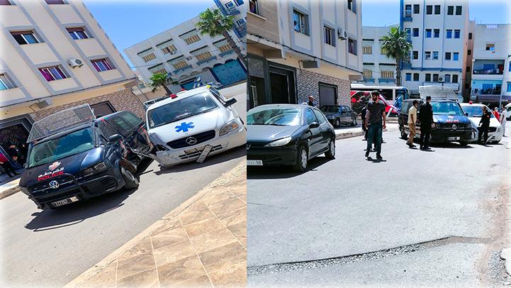 الناظور.. حادث تصادم قوي بين سيارة للشرطة وأخرى للإسعاف وسيارة خاصة
