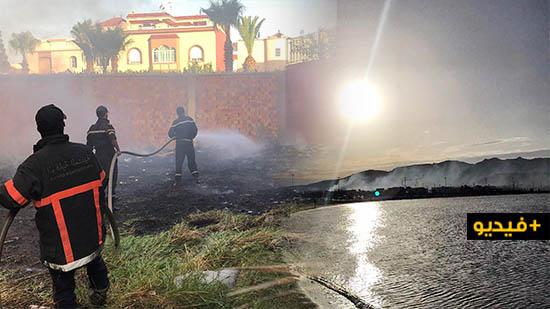 """متشردون يضرمون النار في """"أرض مهجورة"""" بمركز مدينة الناظور"""